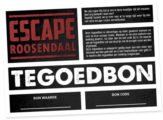 escape roosendaal tegoedbon escaperoom